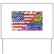 American & Rainbow Flags Yard Sign