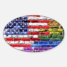 American & Rainbow Flags Decal