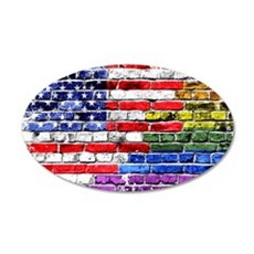 American & Rainbow Flags Wall Decal