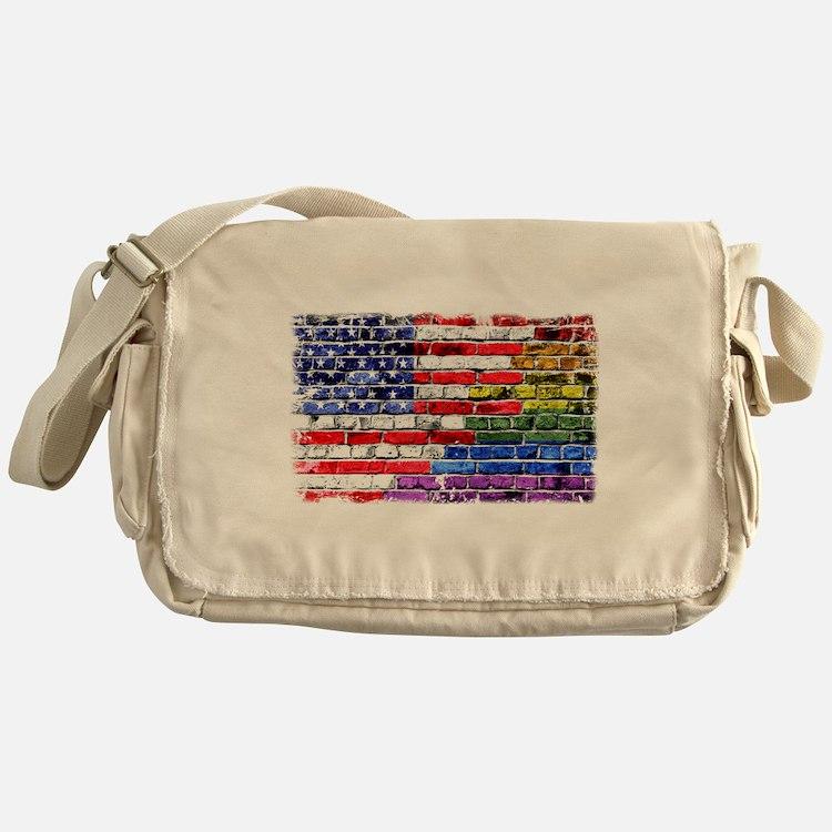 American & Rainbow Flags Messenger Bag
