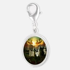 Medievel Castle Silver Oval Charm