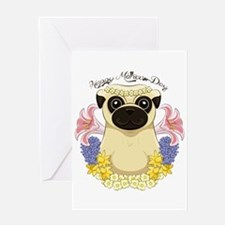 Spring Pug Mother's Day Greeting Cards