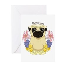 Spring Pug Thank You Greeting Cards