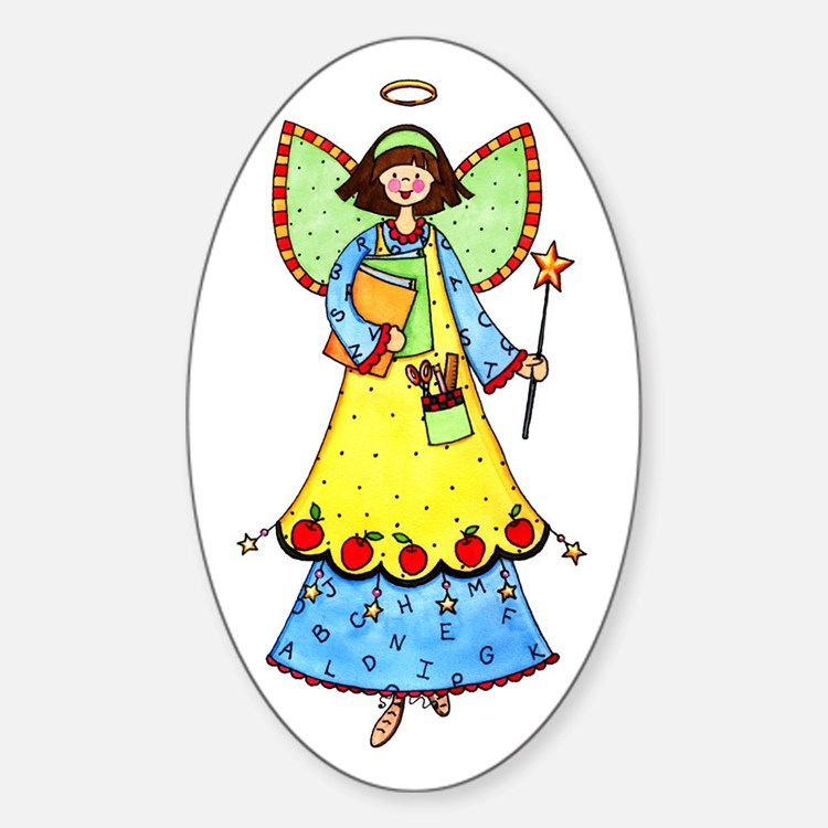 Education Angel Oval Decal