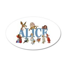 Alice in Wonderland and Frie 35x21 Oval Wall Decal