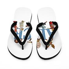 Alice in Wonderland and Friends Flip Flops