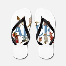 Alice in Wonderland and Friends Flip Flops