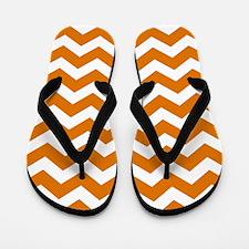 Burnt Orange Chevron Pattern Flip Flops