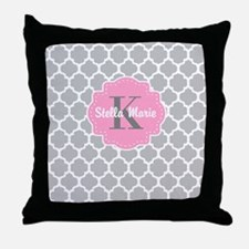 Gray Pink Quatrefoil Personalized Throw Pillow