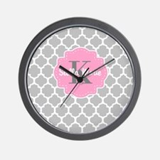 Gray Pink Quatrefoil Personalized Wall Clock
