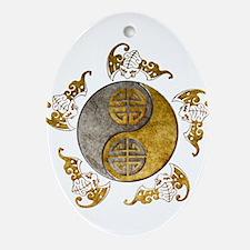 Harvest Moons Bats Yin Yang Ornament (oval)