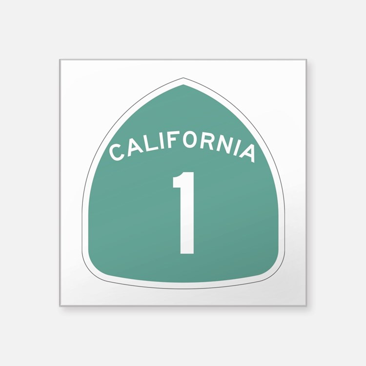 """Route 1, California Square Sticker 3"""" X 3&quo"""
