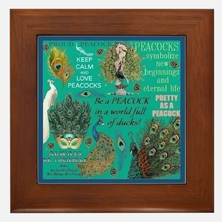 Peacocks Framed Tile