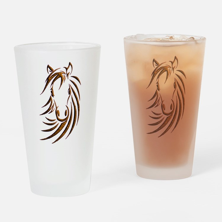 Brown Horse Head Drinking Glass