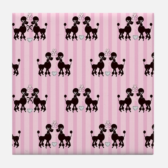 Pink Poodles And Diamonds Tile Coaster