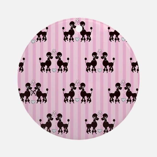 Pink Poodles And Diamonds Round Ornament