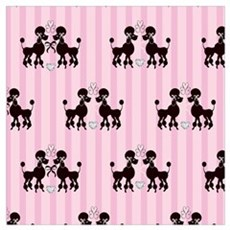 Pink Poodles And Diamonds Framed Print