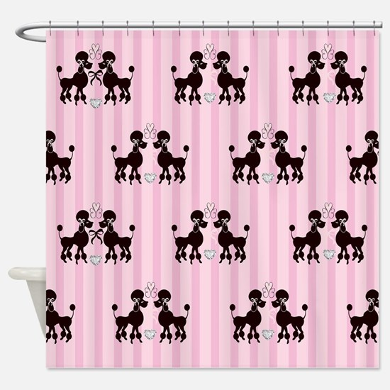 Pink Poodles And Diamonds Shower Curtain
