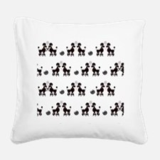French Poodles Square Canvas Pillow
