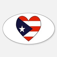 Puerto Rican Flag Heart Oval Decal