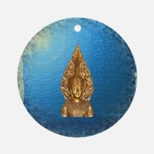 golden buddha in blue paper backgro Round Ornament