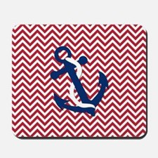 Anchor on Chevron - Red Chevron Mousepad
