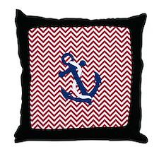 Anchor on Chevron - Red Chevron Throw Pillow