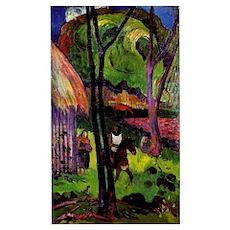Gauguin - Cavalier devant la Case Poster