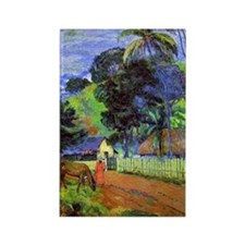 Gauguin - Horse on Road, Tahitian Rectangle Magnet