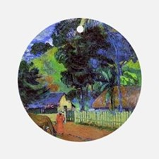 Gauguin - Horse on Road, Tahitian L Round Ornament