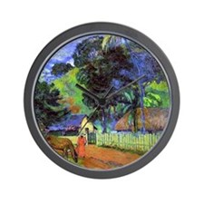Gauguin - Horse on Road, Tahitian Lands Wall Clock