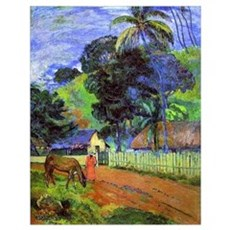 Gauguin - Horse on Road, Tahitian Landscape Poster