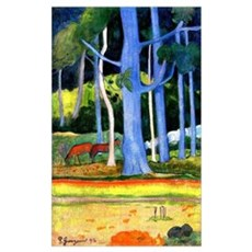 Gauguin - Landscape with Blue Tree Trunks Framed Print
