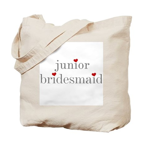 Junior Bridesmaid Grey Text Tote Bag