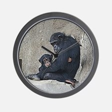 Chimpanzee mother and baby Wall Clock