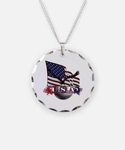 USA Flag & Soccer with Eagle Necklace