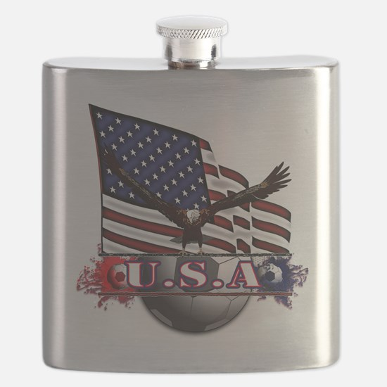 USA Flag & Soccer with Eagle Flask