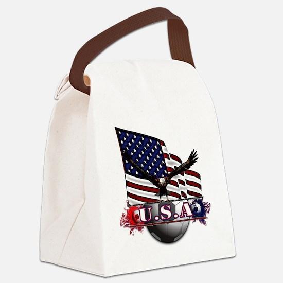 USA Flag & Soccer with Eagle Canvas Lunch Bag