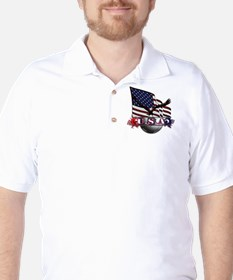 USA Flag & Soccer with Eagle Golf Shirt