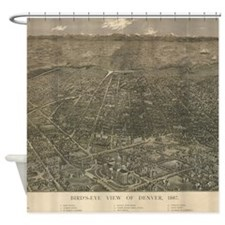 Vintage Pictorial Map of Denver Col Shower Curtain