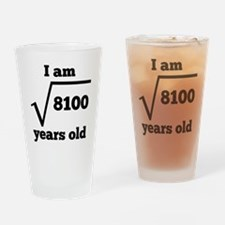 90th Birthday Square Root Drinking Glass