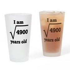 70th Birthday Square Root Drinking Glass