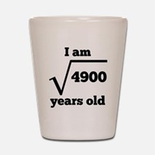 70th Birthday Square Root Shot Glass