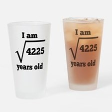 65th Birthday Square Root Drinking Glass