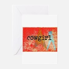 Vintage star cowgirl Greeting Cards