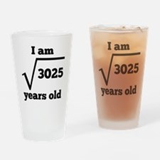 55th Birthday Square Root Drinking Glass