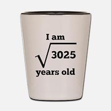 55th Birthday Square Root Shot Glass
