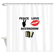 Peace Love Accordion Shower Curtain