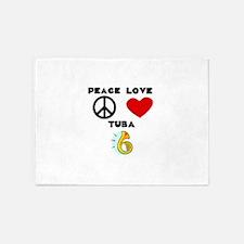 Peace Love Tuba 5'x7'Area Rug