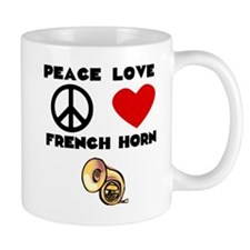 Peace Love French Horn Mugs